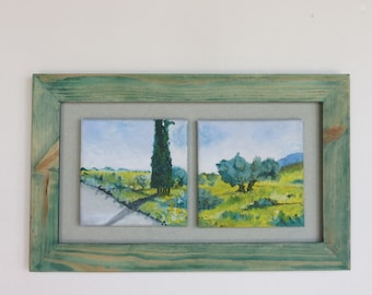 Open Field Painting, Original Painting Nature Landscape Oil Paintings, Squares. Pair Paintings FRAMED TOGETHER. Galilee: Way to Mount Tabor
