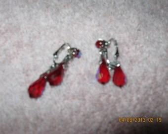 Vintage Ruby Teardrop Clip Earrings