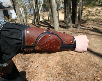 Leather Arm Guards with Artistic design LARP Steampunk armor