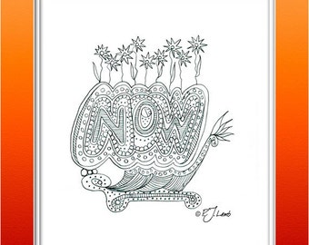 Now, Black and White Graphic Word Art Print, Reproduced from Original Pencil Drawing