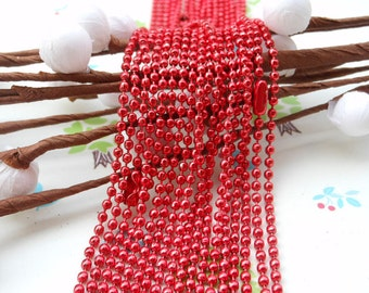 SALE--10 pcs Red Ball Chain Necklaces - 27inch, 2.0 mm