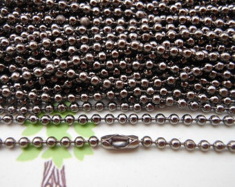 SALE--10 pcs  Gunmetal  Ball Chain Necklaces - 27inch, 2.0 mm
