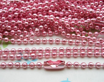 SALE--10 pcs  Pink Ball Chain Necklaces - 27inch, 2.4 mm