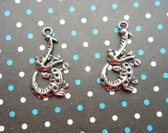 Sale--50 pcs 35mmx19mm Crocodile Antique Silver Charm Pendants