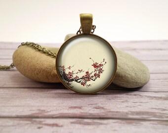 Japanese tree branch glass pendant, antique bronze tone setting