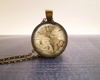 America vintage map glass pendant, antique bronze tone setting