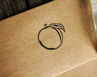 "Georgia Peach Stamp - 1""x1"" - Southern Rubber Stamp - Peach Rubber Stamp"