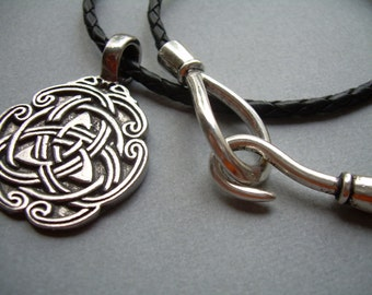 Leather Necklace, Celtic Pendant , Mens Necklace, Black Braid, Mens Jewelry, Mens Gift, Pendant, Celtic, Mens Leather Necklace