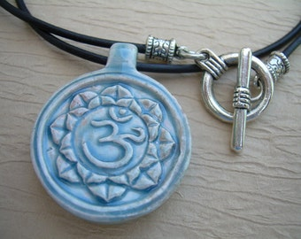 Leather Necklace, Om Pendant , Mens Necklace, Womens Necklace, Womens Jewelry, Mens Jewelry, Om