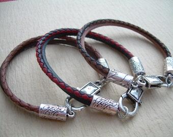 Braided Leather Bracelet, Mens Bracelet, Leather Bracelet, Mens Jewelry, Mens Gift, Womens Bracelet, Womens Jewelry, Black, Red, Brown,
