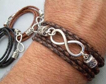 Infinity Bracelet, Leather  Bracelet,  Mens Bracelet,  Womens Bracelet, Mens Jewelry, Womens Jewelry, Infinity, Fathers Day