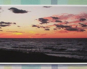 Twilight across Lake Michigan with silhouetted clouds - 8x16 inch print