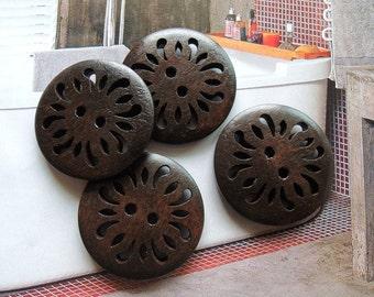 8Pcs  28mm Dark Brown Coffee hollow  Wood button 2 holes( W097)