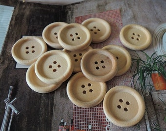 15Pcs  23mm Unfinished Natural  Wood button 4 holes No varnish  for your handmade ( W092)