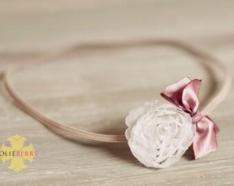 MAE baby Headband. Newborn photography prop. White. Lace. Flower/bow headband