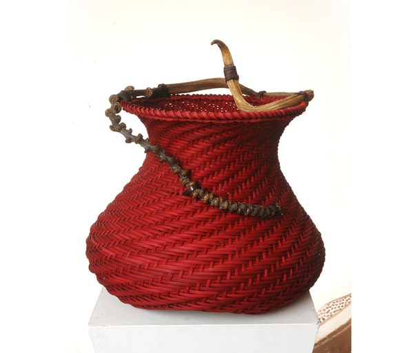 "Red spiral basket, Housewarming gift - ""Lady in red"""