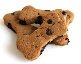 Peanut Butter Carob Chip Dog Treats, All Natural Dog Treats, Large Breed Dog Treats, Peanut Butter Treats, Carob Treats