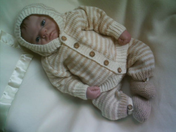 Knitting Pattern Baby Hooded Jacket : knitting pattern PDF hooded jacket trousers bootees to fit 0-3