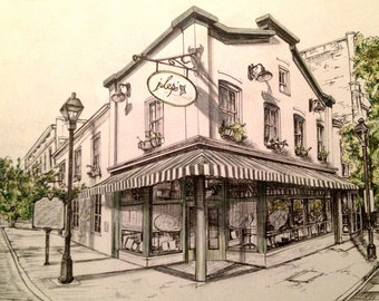Pen and ink print of Julep's restaurant in Richmond, Va