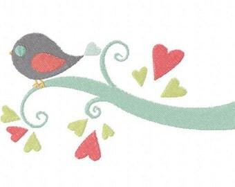 INSTANT DOWNLOAD Bird on Love Limb Machine Embroidery Design