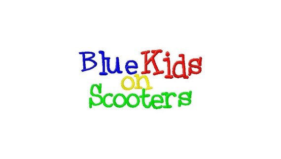 INSTANT DOWNLOAD Blue Kids on Scooters Machine Embroidery Font Set Includes 3 Sizes