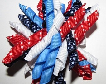 Patriotic Korker Hair Clip - Red, White and Blue