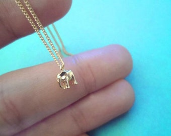 Tiniest, Cute, Baby, Elephant, Dumbo, Gold, Necklace, Birthday, Friendship, Best friends, Mom, Sister, Gift, Jewelry