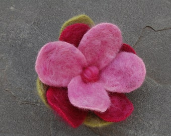 Handmade Cashmere and Wool Flower Pin,  Brooch With Needle Felted Wool Roving