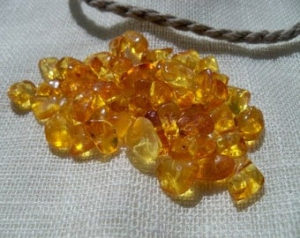 Natural Baltic Amber Beads. Polished. Freeform. 50 pcs yellow color. Drilled.