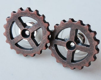 Metal Gears Cogs Copper  Steampunk 16mm Stud Earrings