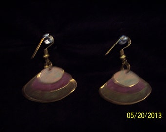 Earrings: Muted Color Metal Vintage India Fashion Shell Shape #97