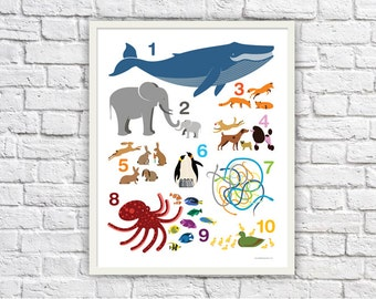 Kids Number Poster (approx 16 x 20 inches)