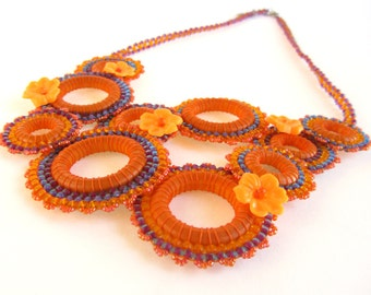 Festive Floral Bib-Style Efflorescence Necklace in Orange and Purple with Matching Earrings