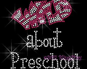 "Wild about Preschool - Iron on Preschool Rhinestone Transfer Bling Hot Fix Bling - Pick a Color For ""Wild"" - DIY Preschool Teacher Shirts"
