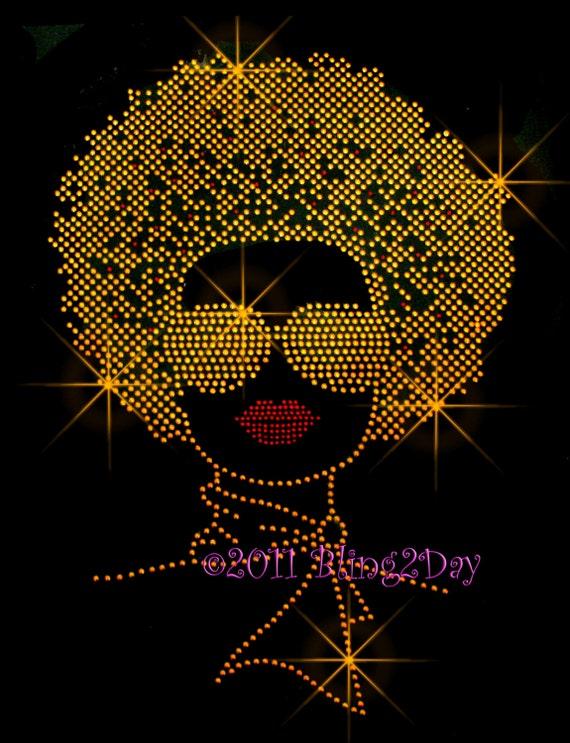 Afro Lady Gold Stud Iron On Rhinestone Transfer Bling Hot
