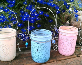 S A L E Mason Jar Lanterns, Shabby Chic Candle Holders, Flower Vases, Set Of 3 Distressed Glass Vessels
