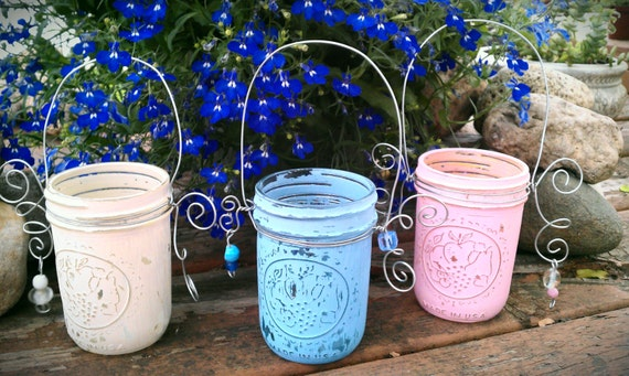 Mason Jar Lanterns, Shabby Chic Candle Holders, Flower Vases, Set Of 3 Distressed Glass Vessels