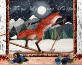 Fox Painting, Cross Country Skiing, 5'' x 7'' print of original watercolor painting, fox art, folk art, nordic skiing, woodland animal
