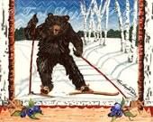 Cross Country Skiing Black Bear Painting, reproduction of original watercolor painting, skiing art, bear art, nordic skiing, woodland animal