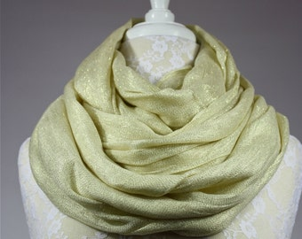 Sparkly yellow infinity scarf spring loop scarf chunky scarf oversized lurex metallic scarf neutral