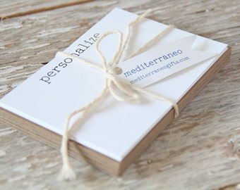 Personalized Stationary Flat Note Card Set - White or Natural