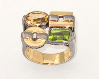 Gold and Rhodium Plated Sterling Silver Ring with Peridot, Citrine. Size: 8
