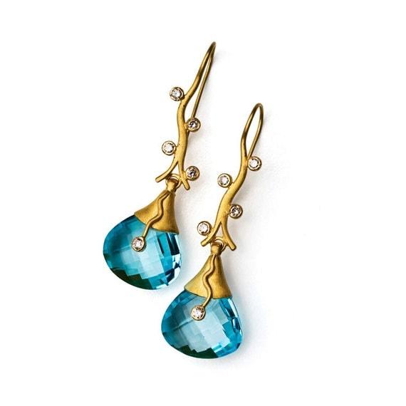 Blue Vine Earrings, 17 x 54 mm