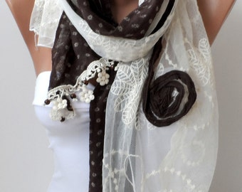 Chocolate scarf, Super elegant woman scarves, Bridesmaid gifts, fringe, Cotton scarf, Summer scarf, Brown scarf, Women scarf, Wedding scarf