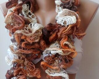 Scarf,Caramel scarf, Ruffle scarf ,handmade scarf - neckwarmer, Knitted Cowl scarf, winter scarf, Caramel scarf, Variegated, Christmas scarf