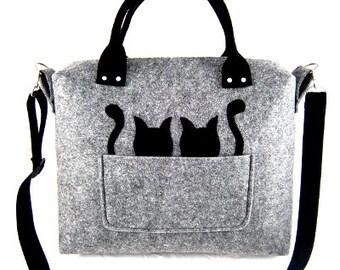 Cats handbag Felt purse Bag for women Gray bag Big bag Felt bag Designer handbag Felt shoulder bag Modern