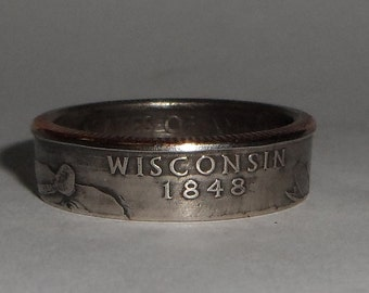 WISCONSIN  us quarter  coin ring size  or pendant
