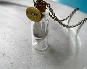 Necklace Dream - glass bottle filled with a feather and closed with a dream charm - IndicaJewelry