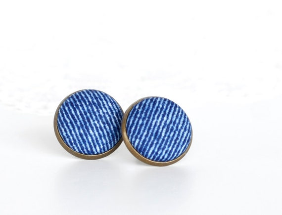 Jeans Earring Studs Fabric Buttons Stud Earrings Jeans