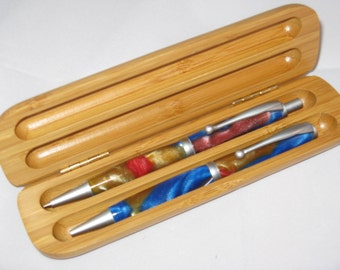 TWIST Pen set--Red ,Blue and Gold AQUAPEARL acrylic (Includes a Bamboo Pen Case)